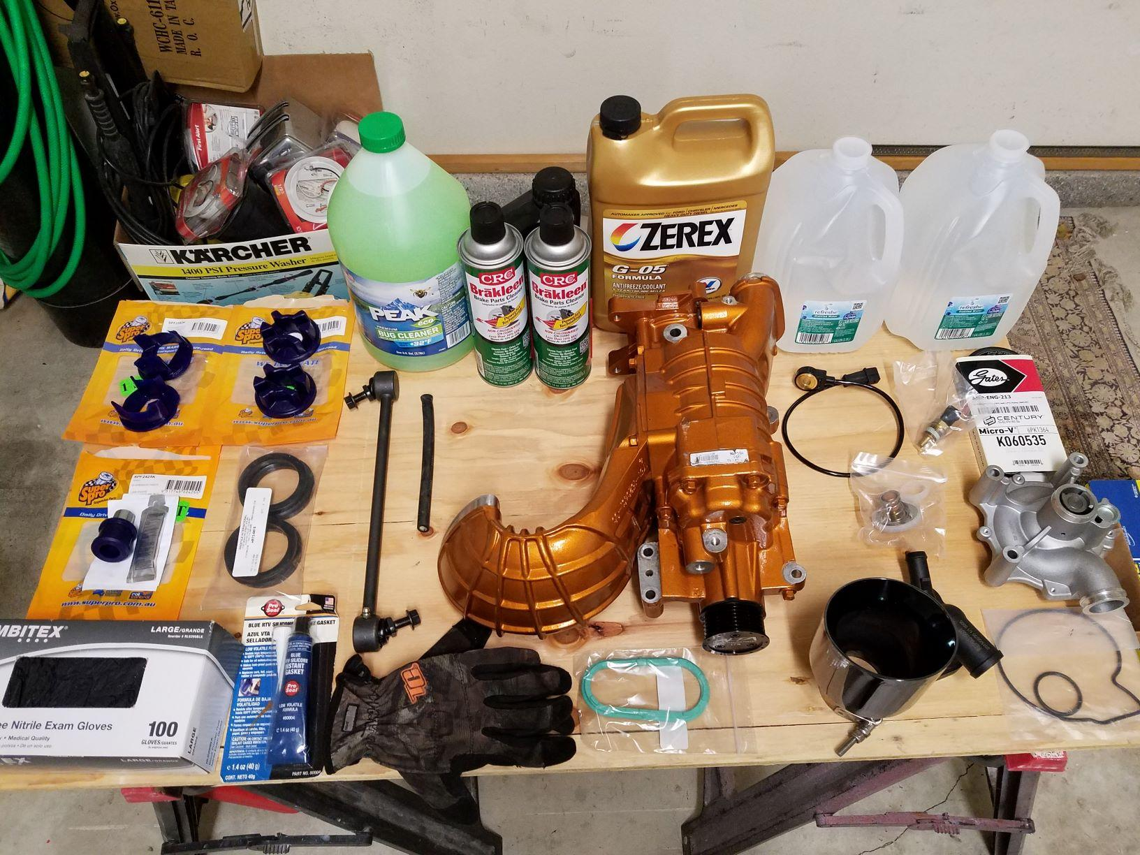 some of the parts and liquids that went in on the labor of love weekend